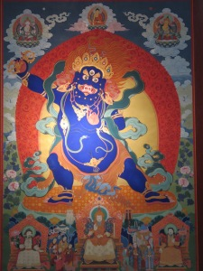 A mural of a wrathful Mongolian Buddhist deity.