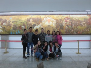 One of the dozens of photo ops throughout the day. This time we're posing in front of a gigantic mural of Genghis Khan.