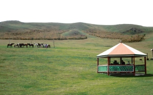 This is the guest gazebo where we had tea and played a traditional game with sheep ankle bones before suiting up for the ride!