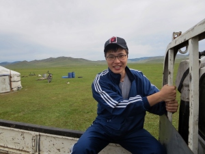 Erdene in the back of the truck as we depart for the mountain ceremony for the second time.