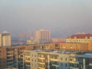 The hazy hillside beyond is the ger district. Many days, especially in the mornings, virtually nothing but the buildings in the foreground is visible. Picture taken from the roof of my apartment building.