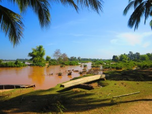 The Mekong River as seen from the banks of Don Det, a small island in Si Phan Don, the 4,000 islands region in Southern Laos.