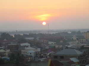 After a long afternoon of motorbiking, we watched the sunset from the rooftop bar of a local hotel.