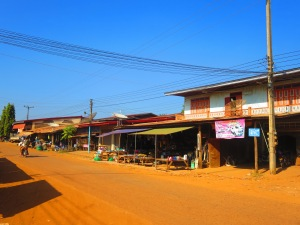 A main street in a small Laos village.