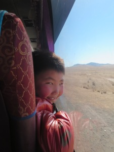 My new friend on the bus from Darkhan to Ulaanbaatar.