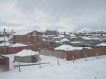 Leaving Ulaanbaatar and its snowy sprawling ger districts.