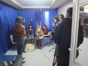 Prepping for the big interview! They made a great impression on the viewers and talked about the great scholarships out there available to Mongolians too!